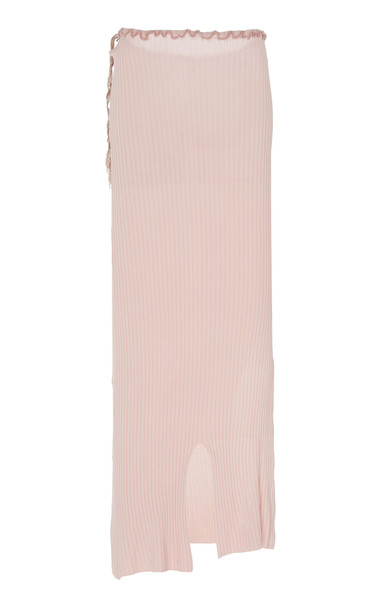 Peet Dullaert Asymmetric Ribbed-Knit Midi Skirt Size: 34 in pink