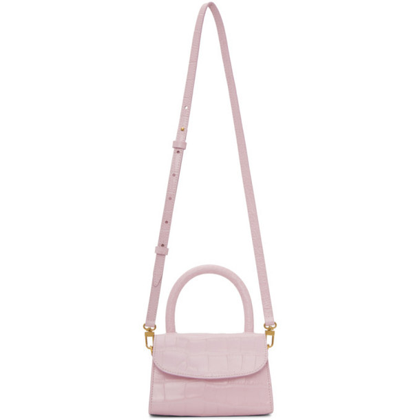 BY FAR Pink Croc Mini Top Handle Bag