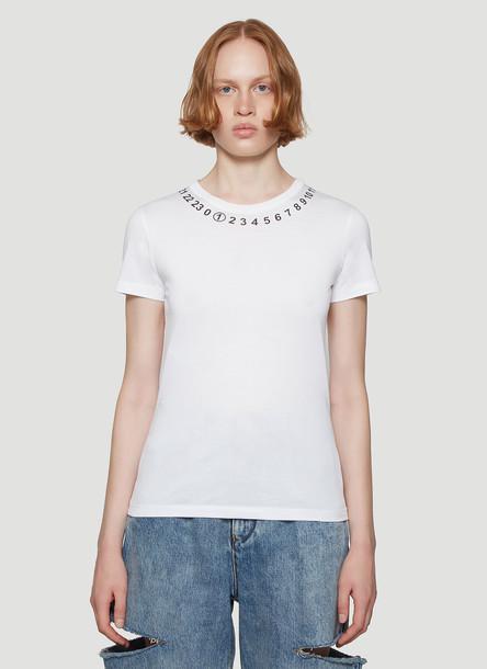 Maison Margiela Logo-Print T-Shirt in White size L