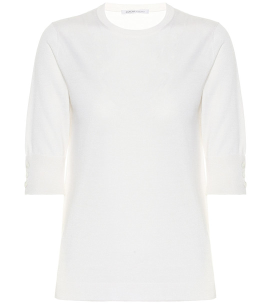 Agnona Cashmere and silk sweater in white