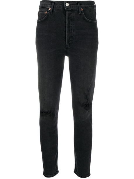 AGOLDE ripped high-rise cropped jeans in grey