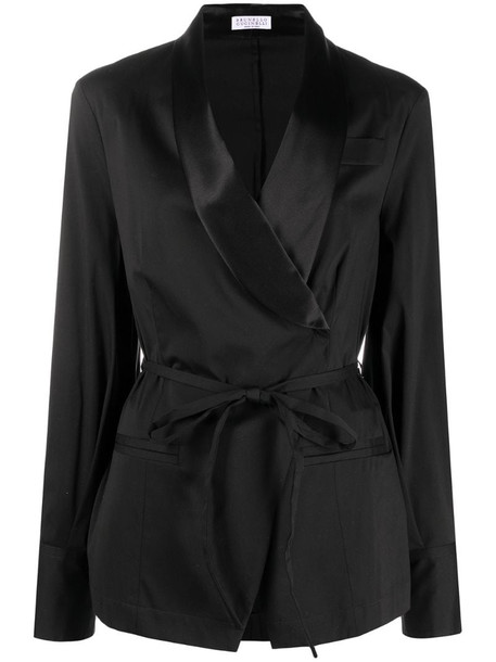 Brunello Cucinelli shawl lapel wrap blazer in black
