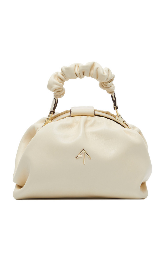 Manu Atelier Demi Ruched Leather Top Handle Bag in white