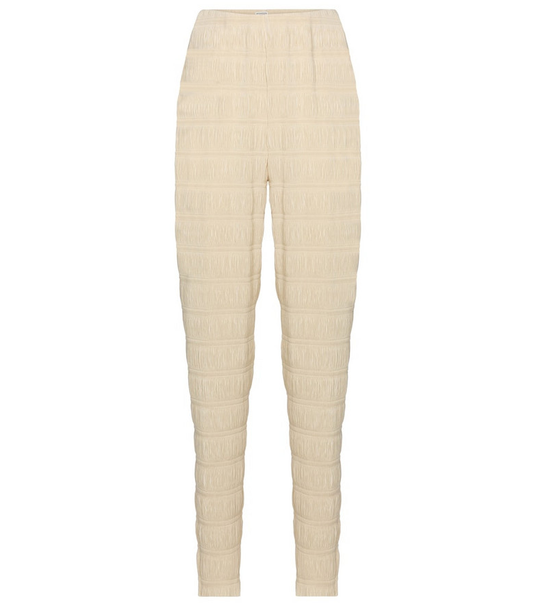 Toteme Exclusive to Mytheresa – Smocked high-rise slim pants in beige