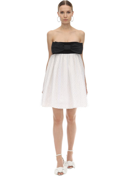 BROGNANO Velvet & Tulle Mini Dress in black / white