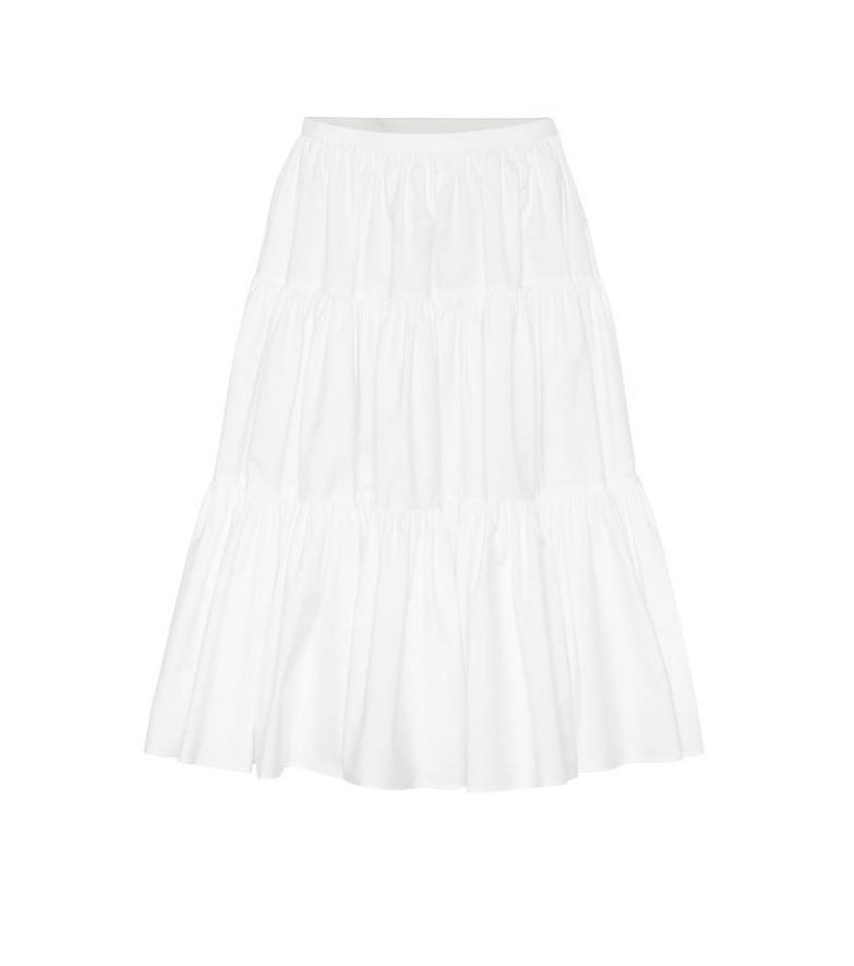 Valentino Cotton-blend poplin midi skirt in white