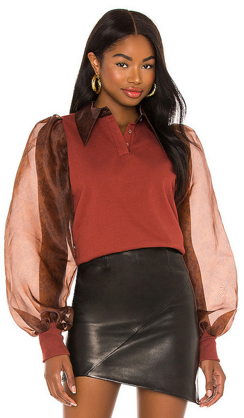 Selkie Oxford Ghosted Pullover in Brick in chocolate