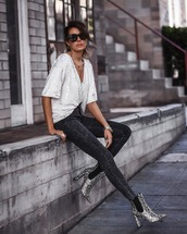 shoes,grey shoes,blouse,white blouse