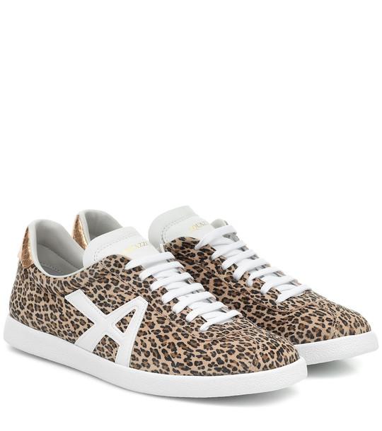 Aquazzura The A leopard-print suede sneakers in white