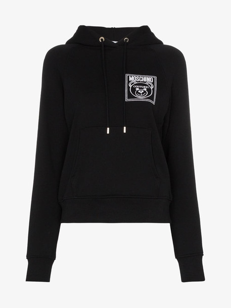 Moschino Teddy Bear embroidered hoodie in black