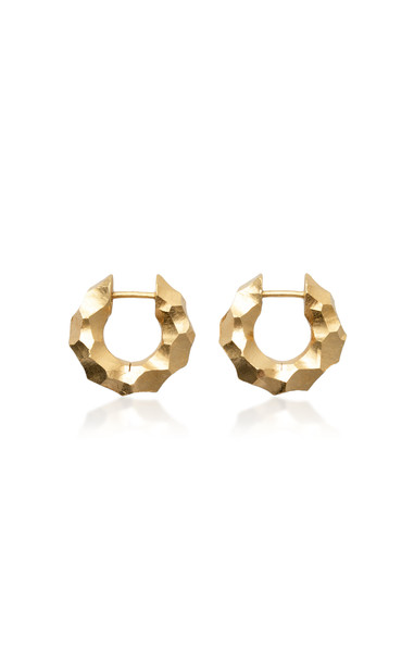 All Blues Almost Bold Carved 18K Gold Vermeil Earrings