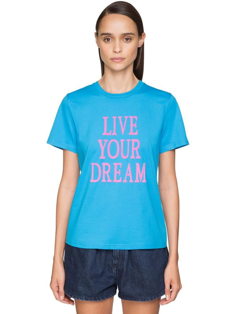 ALBERTA FERRETTI 'live Your Dream' Cotton T-shirt in blue / pink