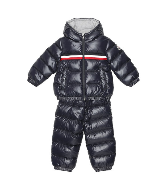 Moncler Enfant Baby Layak down jacket and salopettes set in blue