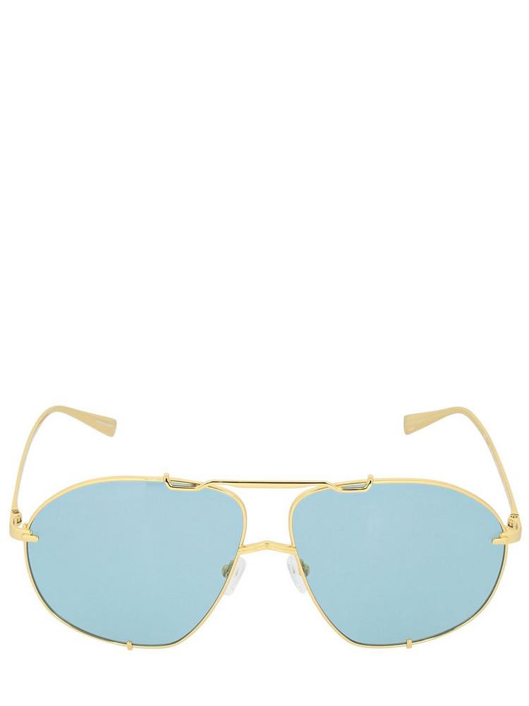 THE ATTICO Mina Oversize Aviator Sunglasses in blue / gold