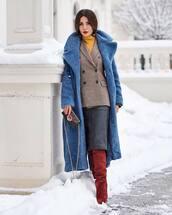coat,blue coat,long coat,knee high boots,suede boots,red boots,fendi,bag,midi skirt,plaid,blazer,max mara,double breasted,turtleneck,celine