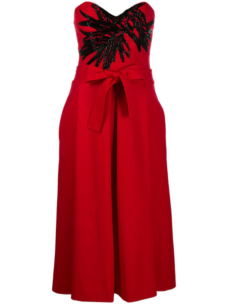 P.A.R.O.S.H. bead-embellished strapless dress in red