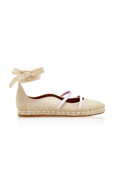 Malone Souliers Selina Espadrille Canvas Flats Size: 39.5 in neutral