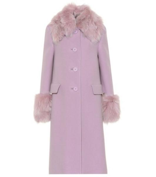 Miu Miu Fur-trimmed wool and angora coat in purple