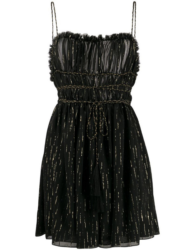 Saint Laurent metallic-threading short dress in black