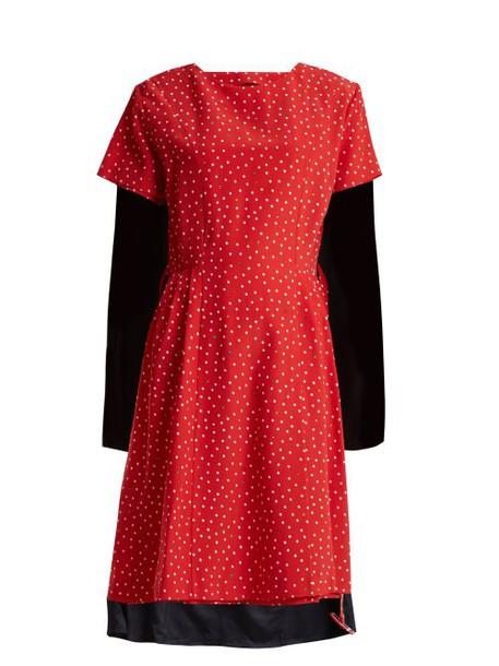 Vetements - Contrast Panel Polka Dot Silk Dress - Womens - Red Multi