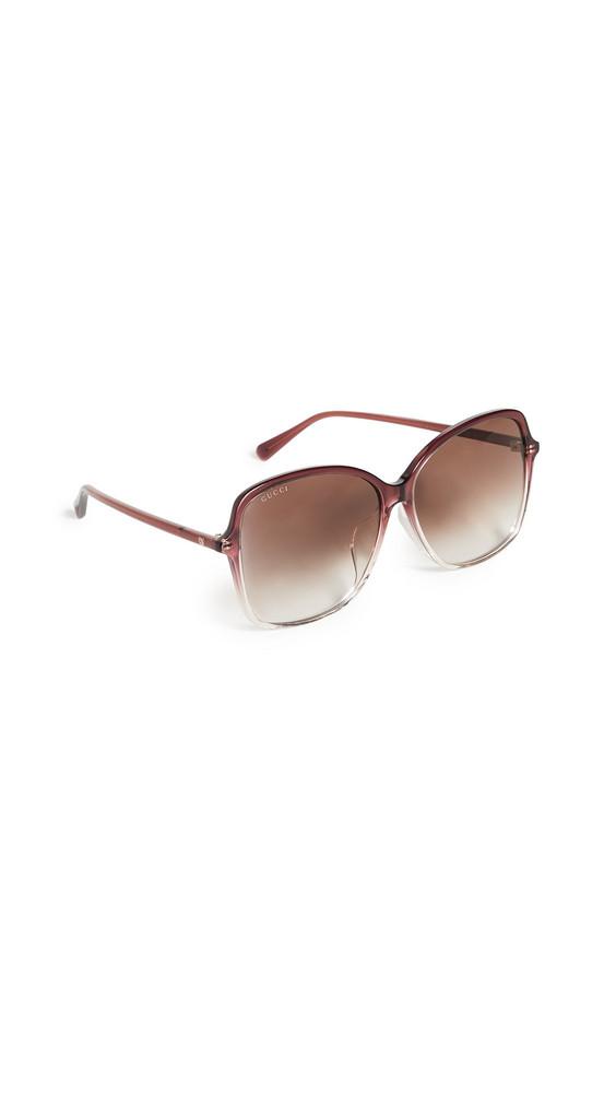 Gucci Ultralight Acetate Square Sunglasses in brown / burgundy