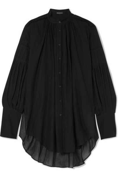 Ann Demeulemeester - Oversized Cotton And Cashmere-blend Voile Blouse - Black