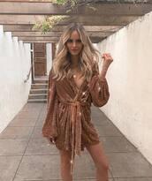dress,sparkly dress,sparkle,amanda  stanton,celebrity,blogger,wrap dress,gold,gold dress