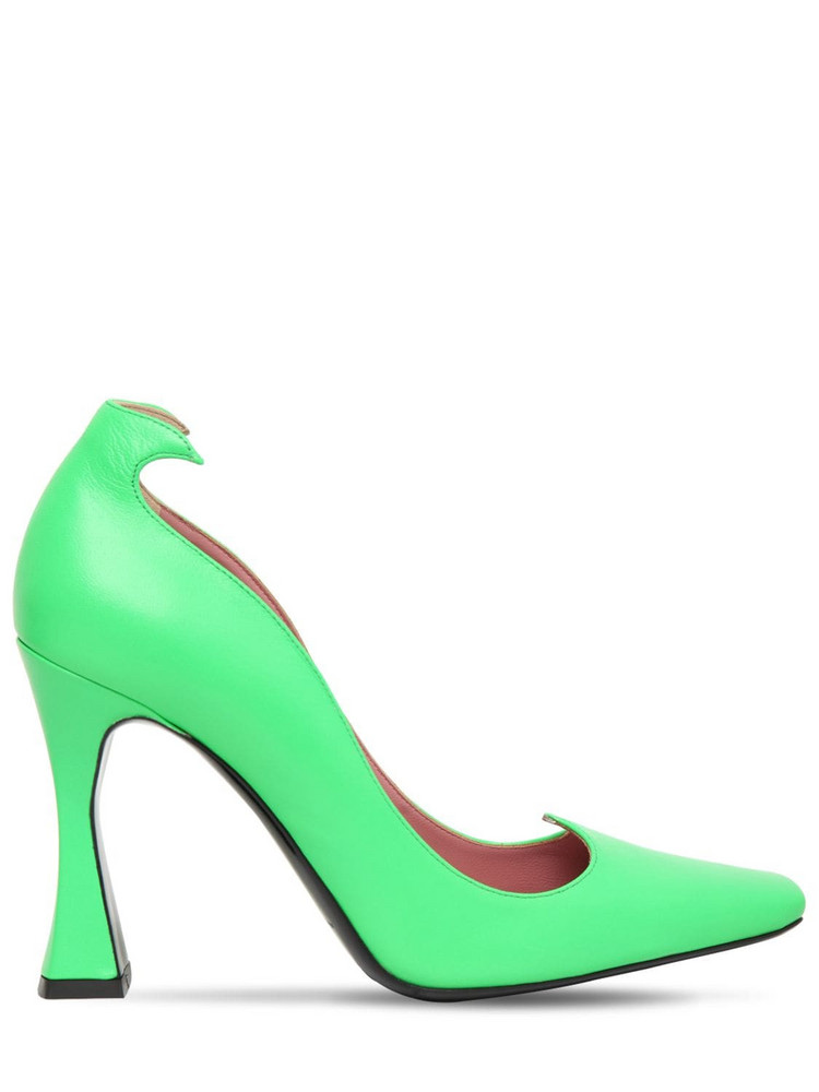 LES PETITS JOUEURS 100mm Taya Leather Pumps in green