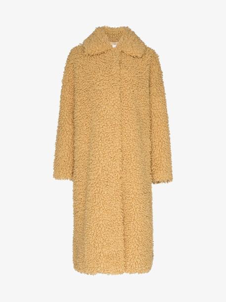 STAND STUDIO Leah faux fur shearling coat in yellow