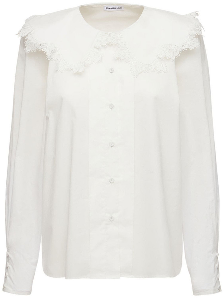 DESIGNERS REMIX Sandra Lace Collar Organic Cotton Shirt in cream