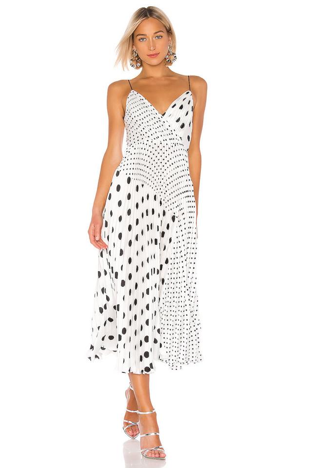 JILL JILL STUART Pleated Polka Dot Dress in white