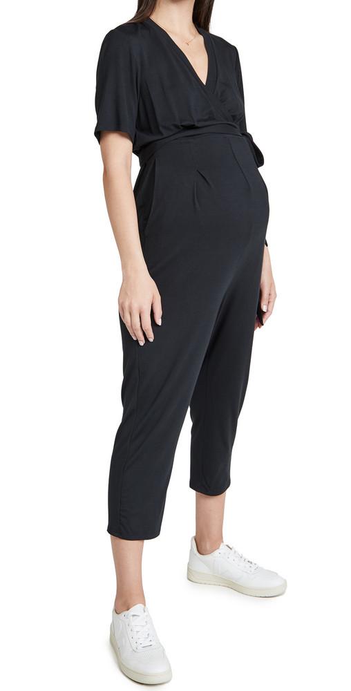 Ingrid & Isabel Short Sleeve Knit Jumpsuit in black