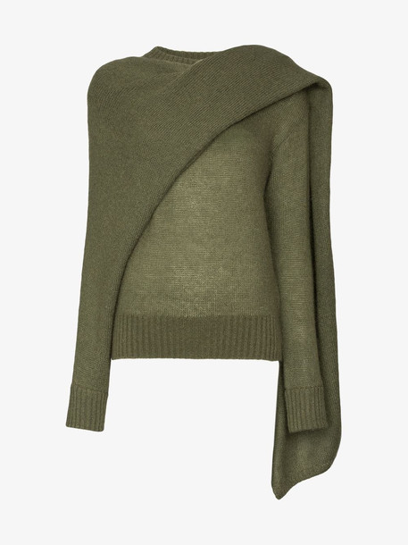 Rejina Pyo draped-scarf knitted sweater in green