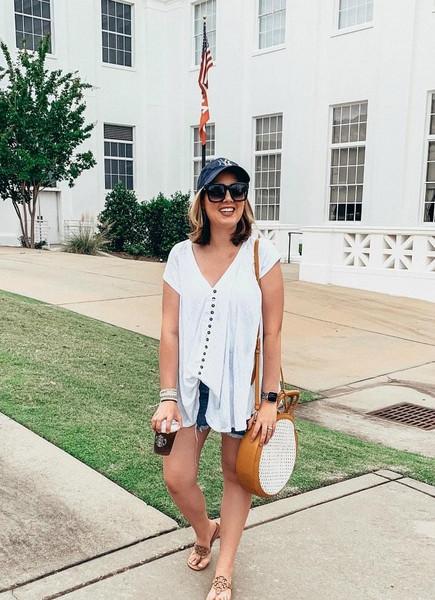 logancan blogger hat top shorts shoes bag sunglasses summer outfits round bag denim shorts