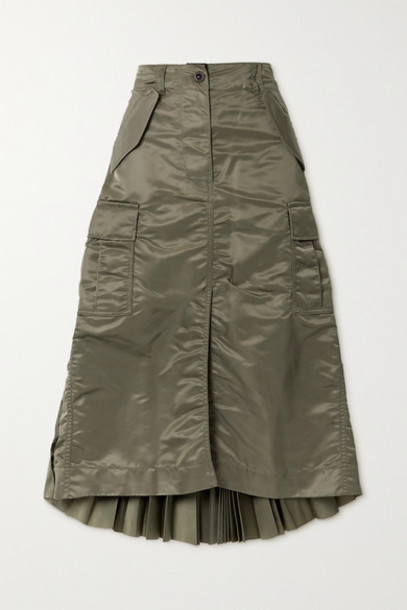 Sacai - Pleated Shell And Chiffon Midi Skirt - Dark green