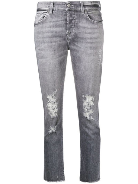 7 For All Mankind distressed cropped jeans in grey