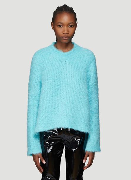 Maison Margiela Bouclé Knit Sweater in Blue size XS