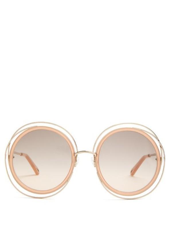 Chloé Chloé - Carlina Round Frame Sunglasses - Womens - Nude