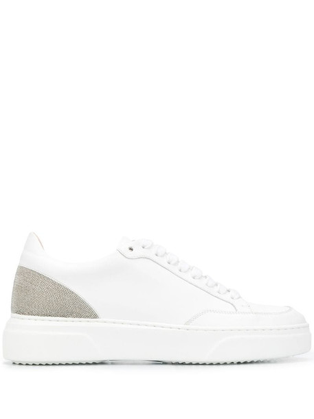 Fabiana Filippi brass-bead lace-up sneakers in white