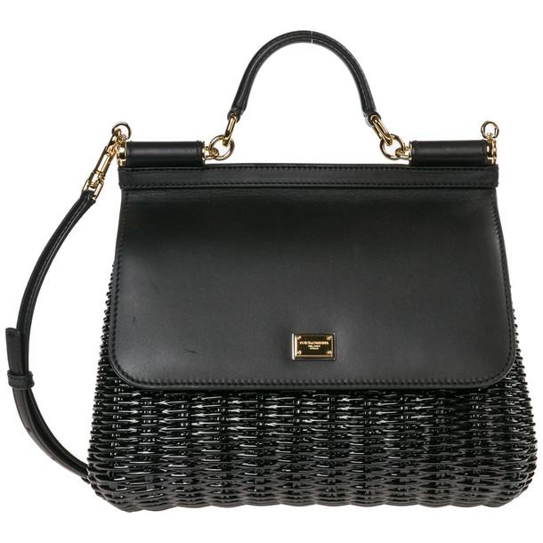 Dolce & Gabbana Leather Handbag Shopping Bag Purse Sicily in nero