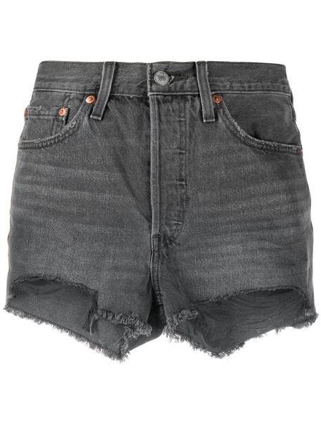 Levi's ripped hem shorts in grey