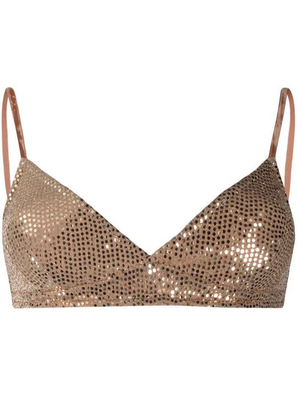 Forte Forte pailette embellished bra in gold