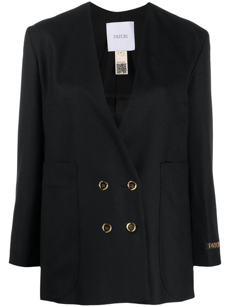 Patou collarless double-breasted blazer in black