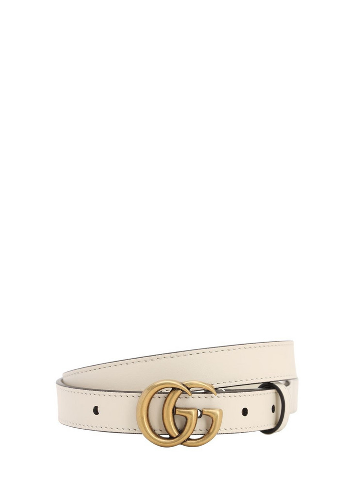 GUCCI 20mm Gg Marmont Leather Belt in white