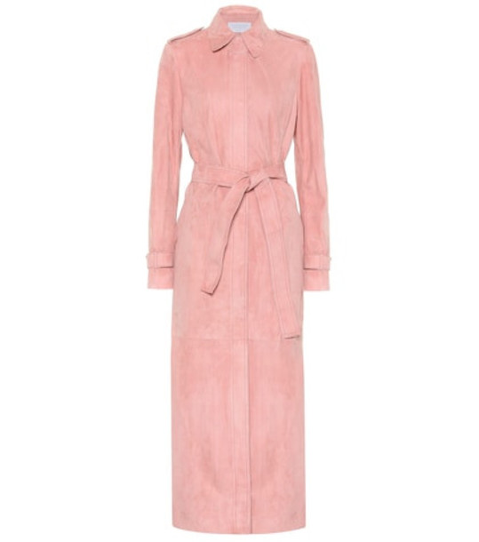 Gabriela Hearst Ruflo suede trench coat in pink