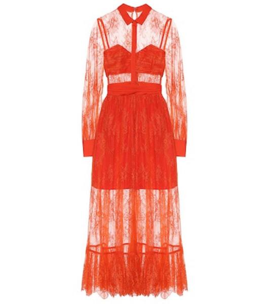 Self-Portrait Lace midi dress in red