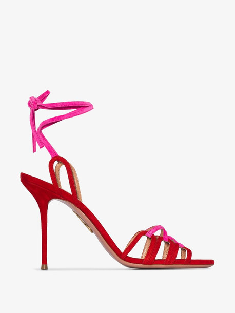 Aquazzura Azur interlaced suede sandals in red