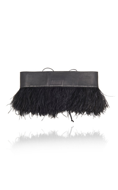 Attico Ostrich-Feather Embellished Leather Bustier Belt in black