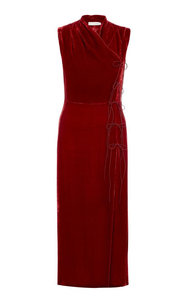 USISI SISTER Jana Velvet Dress in red