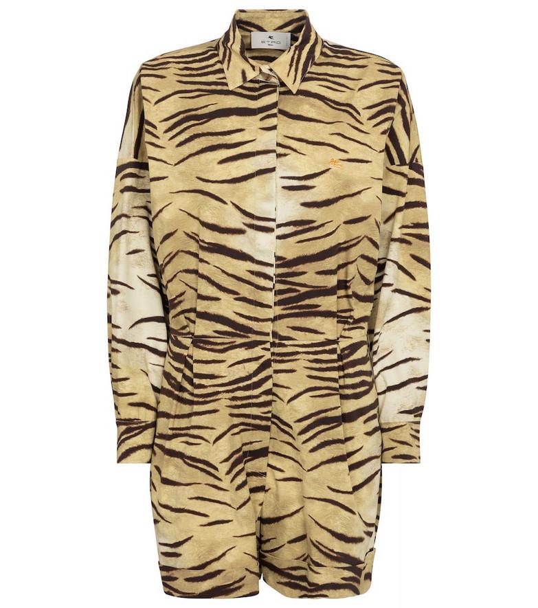 Etro Tiger-print cotton playsuit in beige